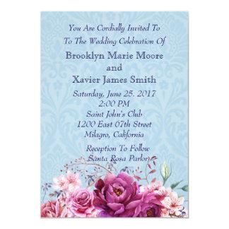 ピンクおよびバーガンディの花花束の結婚式 カード