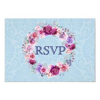ピンクおよびバーガンディの花花束RSVP カード