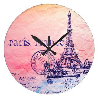 ピンクおよびパステル印象派のパリフランス ラージ壁時計