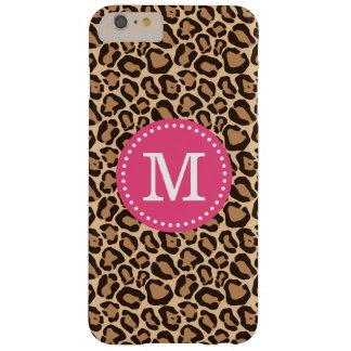 ピンクおよびヒョウのプリントのカスタムのモノグラム BARELY THERE iPhone 6 PLUS ケース