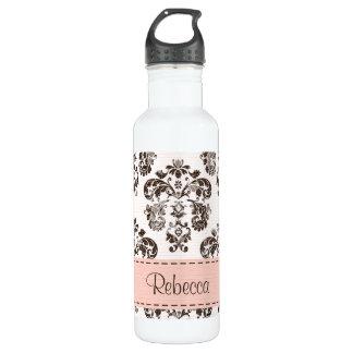 ピンクおよびブラウンのダマスク織BPAは放します ウォーターボトル