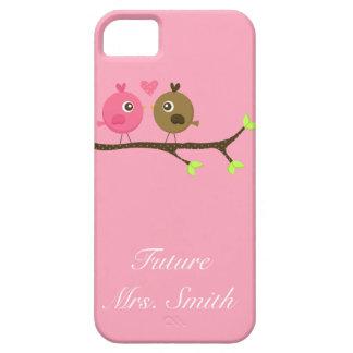 ピンクおよびブラウンの水玉模様愛鳥の未来の夫人 iPhone SE/5/5s ケース