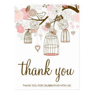 ピンクおよびブラウンの花及び鳥かごのサンキューカード ポストカード