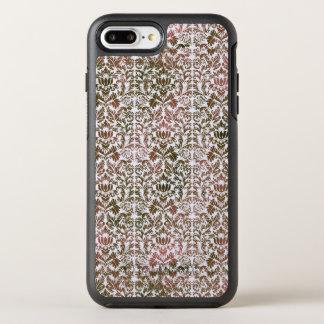 ピンクおよびブラウンのHeatheredろうけつ染めのShiboriのダマスク織 オッターボックスシンメトリーiPhone 8 Plus/7 Plusケース