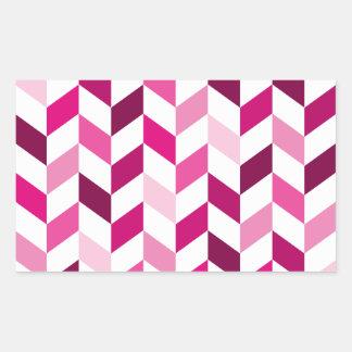 ピンクおよびマゼンタのヘリンボンパターン 長方形シール