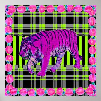 ピンクおよびライムのトラの写実的なプリント ポスター