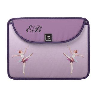 ピンクおよびラベンダーのモノグラムのバレリーナ MacBook PROスリーブ