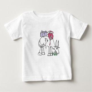 ピンクおよびラベンダーのPterodactylsのTシャツ ベビーTシャツ