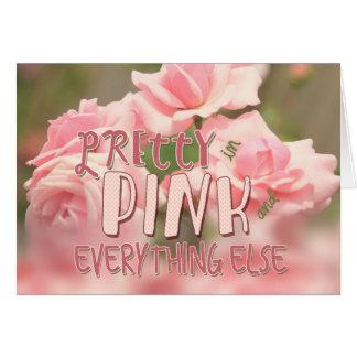 ピンクおよび他のすべてでかわいらしい雑種の茶バラ カード
