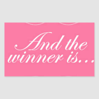 ピンクおよび勝者はあります 長方形シール