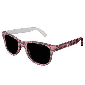 ピンクおよび木炭千鳥格子のなサングラス サングラス