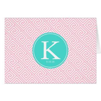 ピンクおよび水のギリシャの主パターンモノグラム カード
