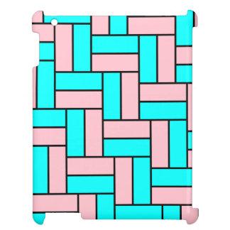 ピンクおよび水のブロックパターンiPadの場合 iPad Case