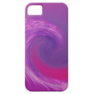 ピンクおよび波のデジタル紫色の芸術-場合 iPhone SE/5/5s ケース