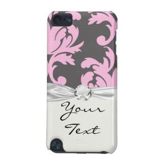 ピンクおよび深い灰色の大きいダマスク織 iPod TOUCH 5G ケース