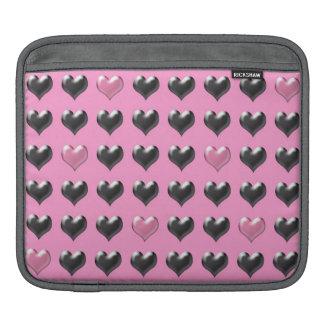 ピンクおよび灰色のハートパターンipadの袖 iPadスリーブ