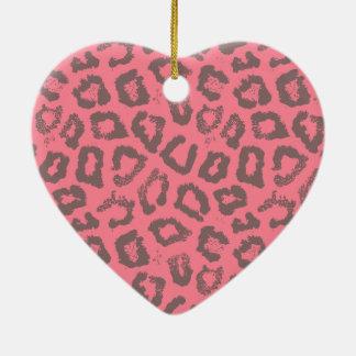 ピンクおよび灰色のヒョウのチータのアニマルプリント 陶器製ハート型オーナメント