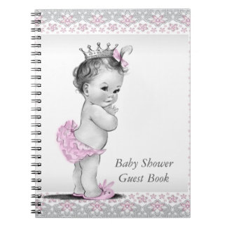 ピンクおよび灰色のベビーシャワーの来客名簿 ノートブック