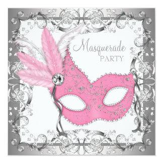 ピンクおよび灰色の仮面舞踏会のパーティー カード