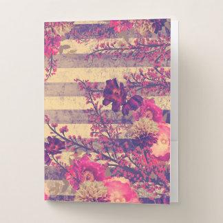 ピンクおよび灰色の熱帯植物は縞で飾ります ポケットフォルダー