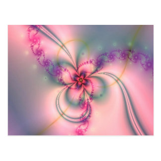 ピンクおよび灰色の花 ポストカード