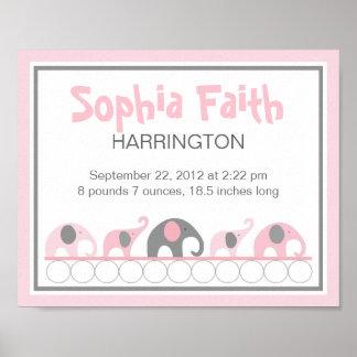 ピンクおよび灰色象の幼児子供部屋の壁の芸術 ポスター
