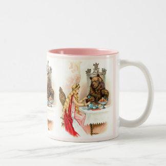 ピンクおよび獣の美しい ツートーンマグカップ