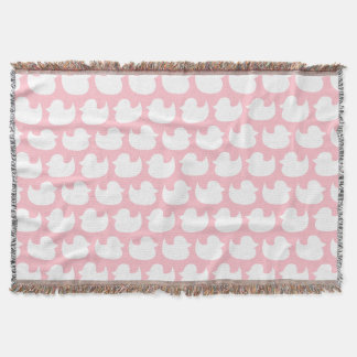 ピンクおよび白いアヒルパターン スローブランケット