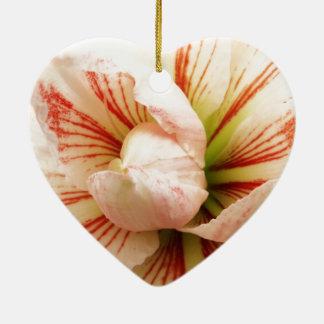 ピンクおよび白いアマリリスの花 セラミックオーナメント