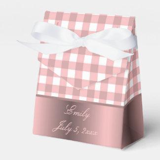 ピンクおよび白いギンガムの女の赤ちゃんのシャワー フェイバーボックス