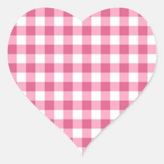 ピンクおよび白いギンガムの点検パターン ハートシール