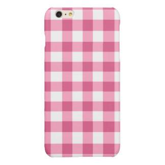 ピンクおよび白いギンガムの点検パターン 光沢iPhone 6 PLUSケース