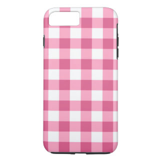 ピンクおよび白いギンガムの点検パターン iPhone 8 PLUS/7 PLUSケース