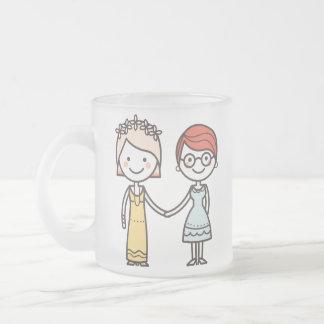 ピンクおよび白いゲイプライドのバレンタインデーのマグ フロストグラスマグカップ