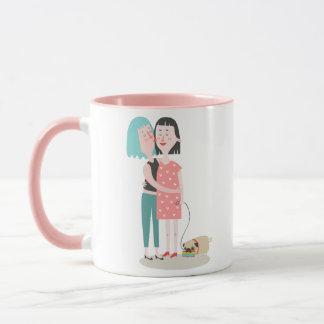 ピンクおよび白いゲイプライドのバレンタインデーのマグ マグカップ