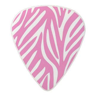 ピンクおよび白いシマウマは縞で飾ります アセタール ギターピック