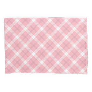 ピンクおよび白いタータンチェックパターン 枕カバー