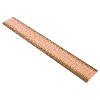 ピンクおよび白いダマスク織のスタイルパターン 定規
