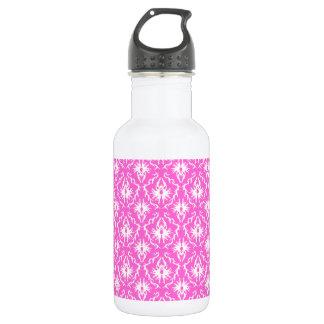 ピンクおよび白いダマスク織パターン ウォーターボトル