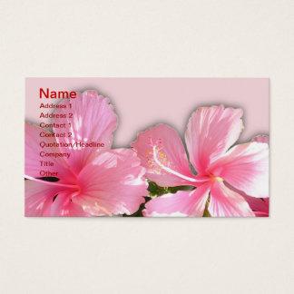 ピンクおよび白いハワイのハイビスカスの名刺 名刺