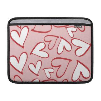 ピンクおよび白いハートのMacbookの空気袖 MacBook スリーブ