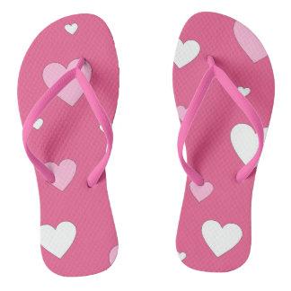 ピンクおよび白いハート愛ビーチサンダル ビーチサンダル