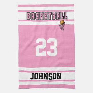 ピンクおよび白いバスケットボール キッチンタオル