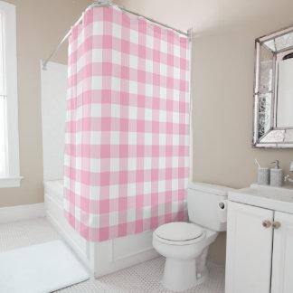 ピンクおよび白いバッファローの点検のシャワー・カーテン シャワーカーテン