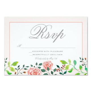 ピンクおよび白いバラの庭RSVPカード カード