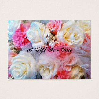 """ピンクおよび白いバラ、3.5""""はx 2.5""""、100、白い詰まります 名刺"""