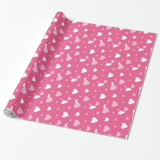 ピンクおよび白いバレンタインデーの包装紙 ラッピングペーパー