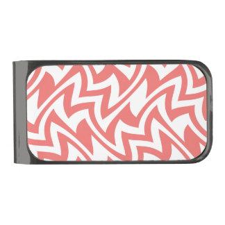 ピンクおよび白いモダンの抽象芸術の幾何学的なパターン ガンメタルマネークリップ