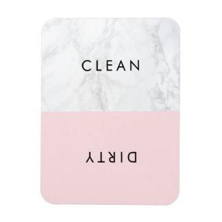 ピンクおよび白い大理石のモダンなタイポグラフィの食洗機 マグネット