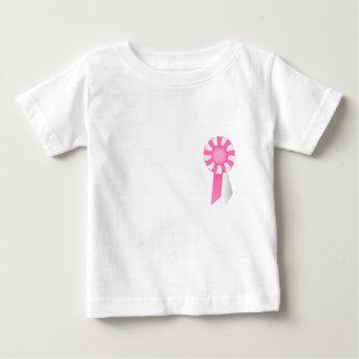 ピンクおよび白い幼児Tシャツのロゼット ベビーTシャツ